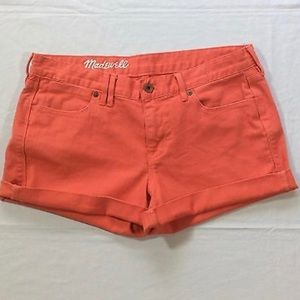 Madewell Distressed Cuffed Orange Denim Shorts